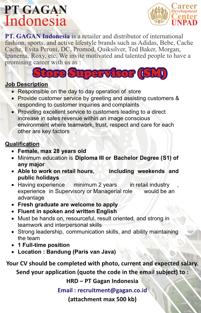 Store Supervisor di PT Gagan Indonesia