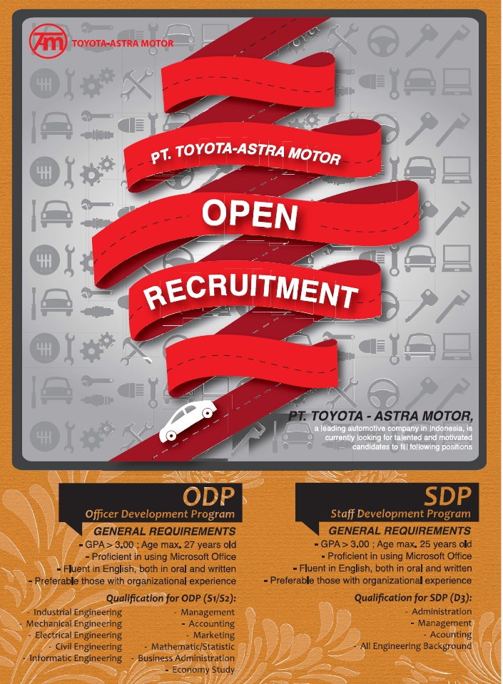 Job Inflokerindo Lowongan Kerja Pt Pt Toyota Astra Motor