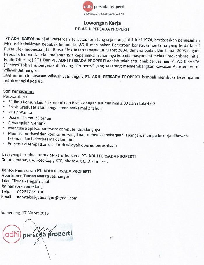 Lowongan PT Adhi Persada Properti April 2016 Terbaru
