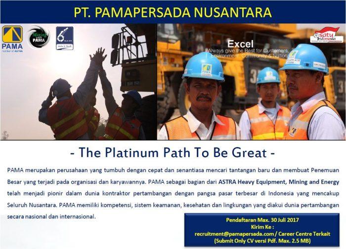 Lowongan PT. PAMAPERSADA NUSANTARA (ASTRA Heavy Equipment, Mining and Energy) Buka Seluruh Indonesia